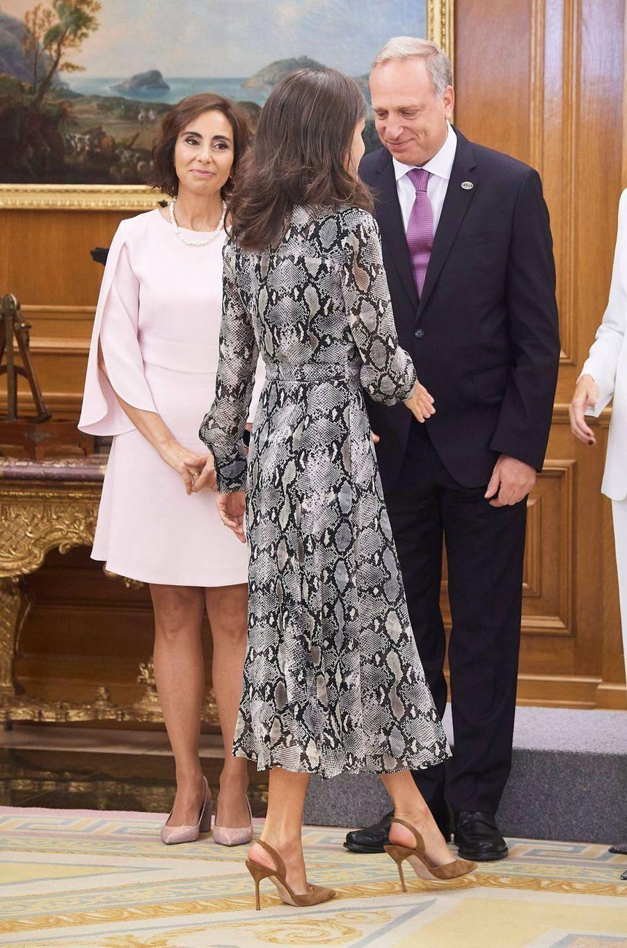 La reine Letizia d'Espagne au palais de la Zarzuela à Madrid, le 8 octobre 2019