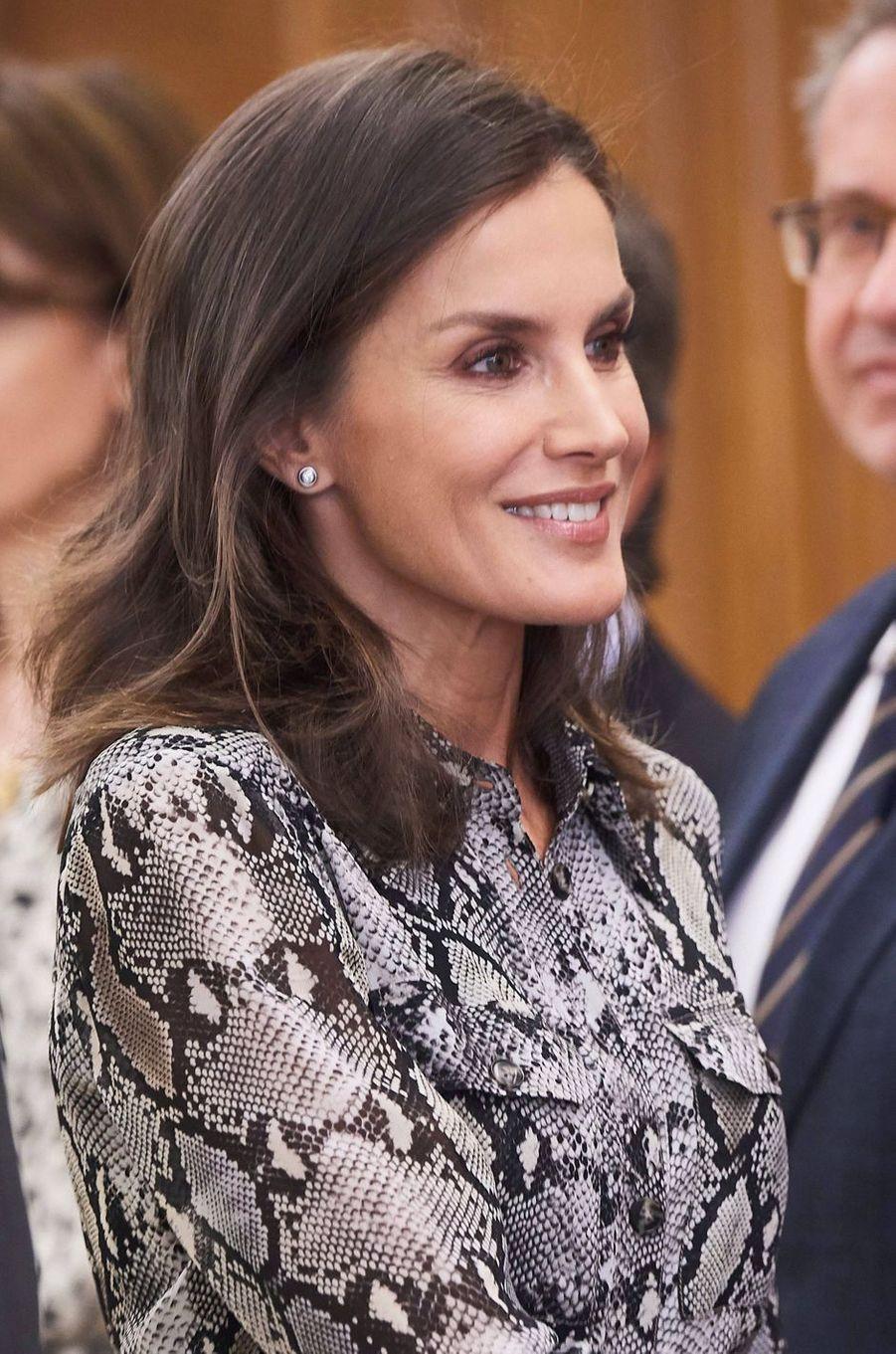 La reine Letizia d'Espagne à Madrid, le 8 octobre 2019