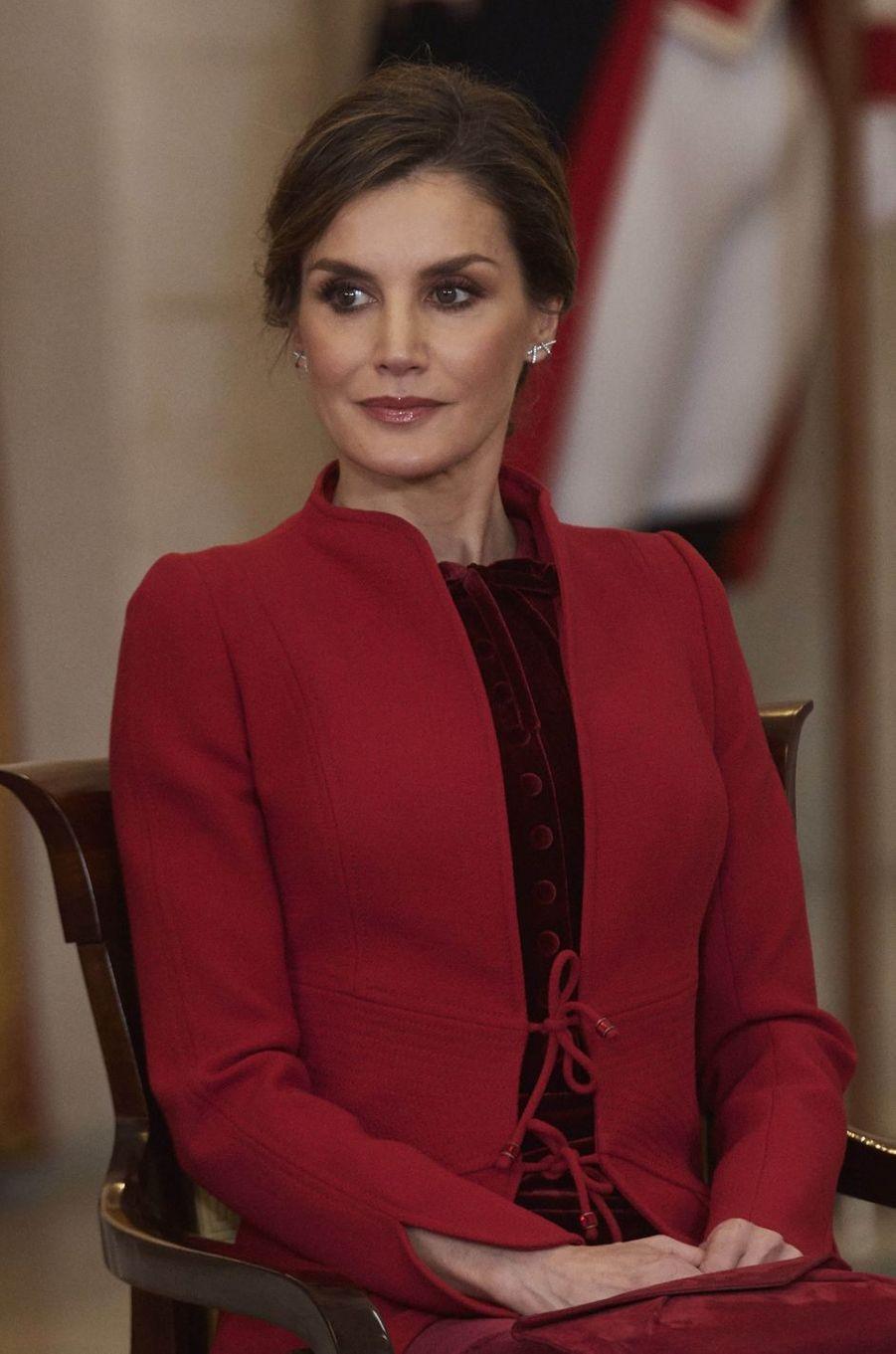 La reine Letizia d'Espagne, le 30 janvier 2018