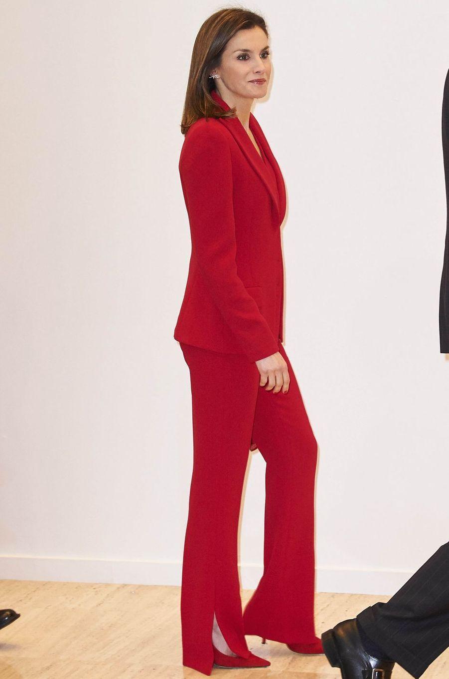 La reine Letizia d'Espagne, le 22 mars 2018