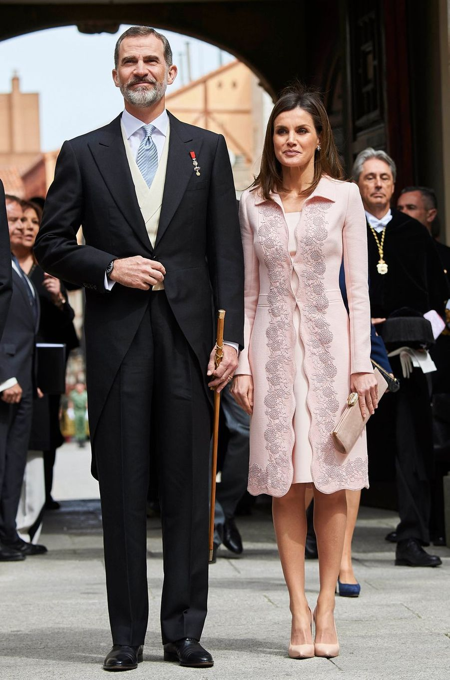 La reine Letizia d'Espagne en Felipe Varela, le 23 avril 2018