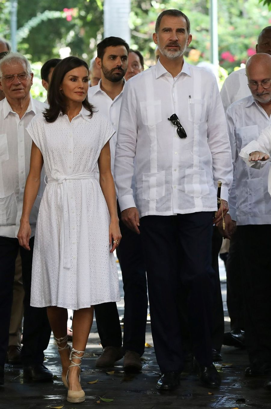 La reine Letizia d'Espagne dans une robe Adolfo Dominguez à La Havane, le 13 novembre 2019