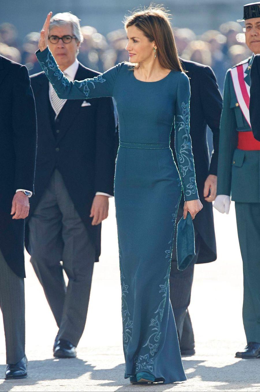 La reine Letizia d'Espagne à la Pascua Militar à Madrid le 6 janvier 2015