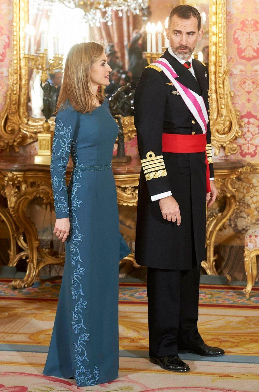 La reine Letizia d'Espagne à la Pascua Militar le 6 janvier 2015 à Madrid