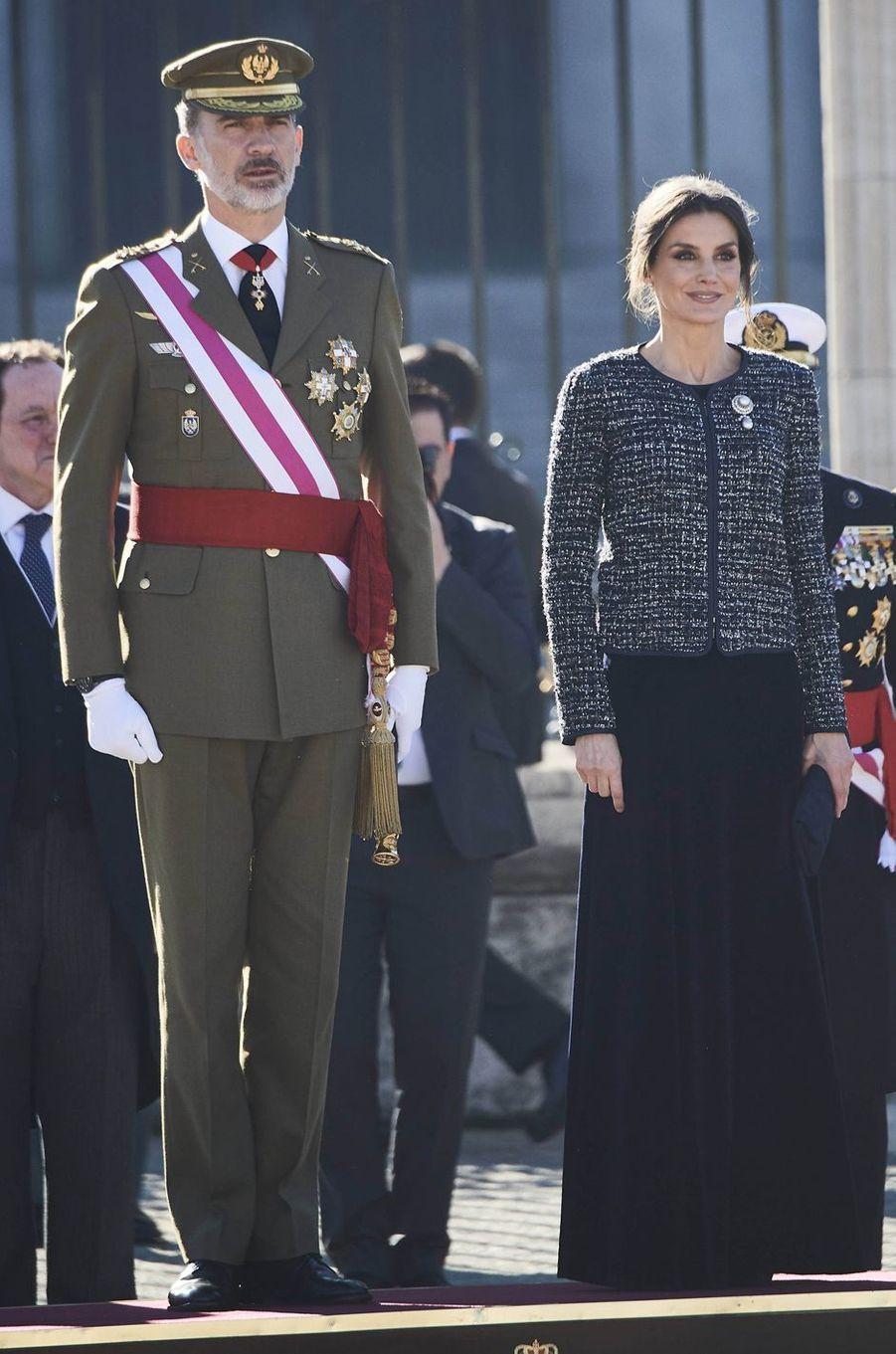 La reine Letizia d'Espagne à la Pascua Militar à Madrid le 6 janvier 2019
