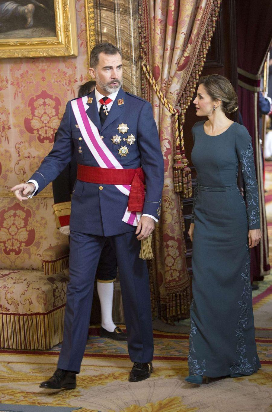 La reine Letizia d'Espagne à la Pascua Militar à Madrid le 6 janvier 2017