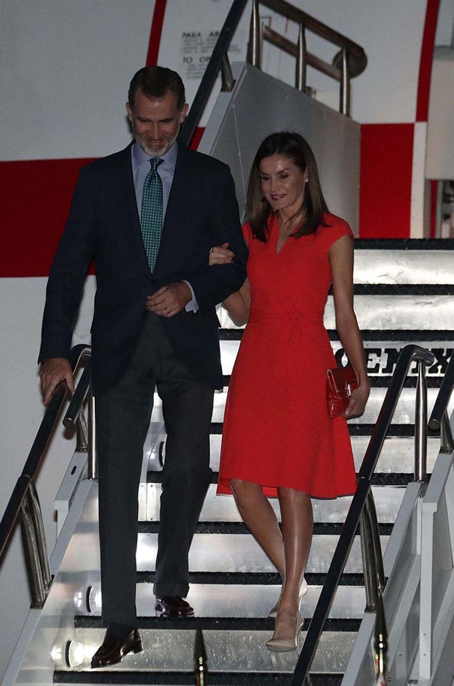 La reine Letizia d'Espagne dans une robe Hugo Boss à La Nouvelle-Orléans, le 14 juin 2018