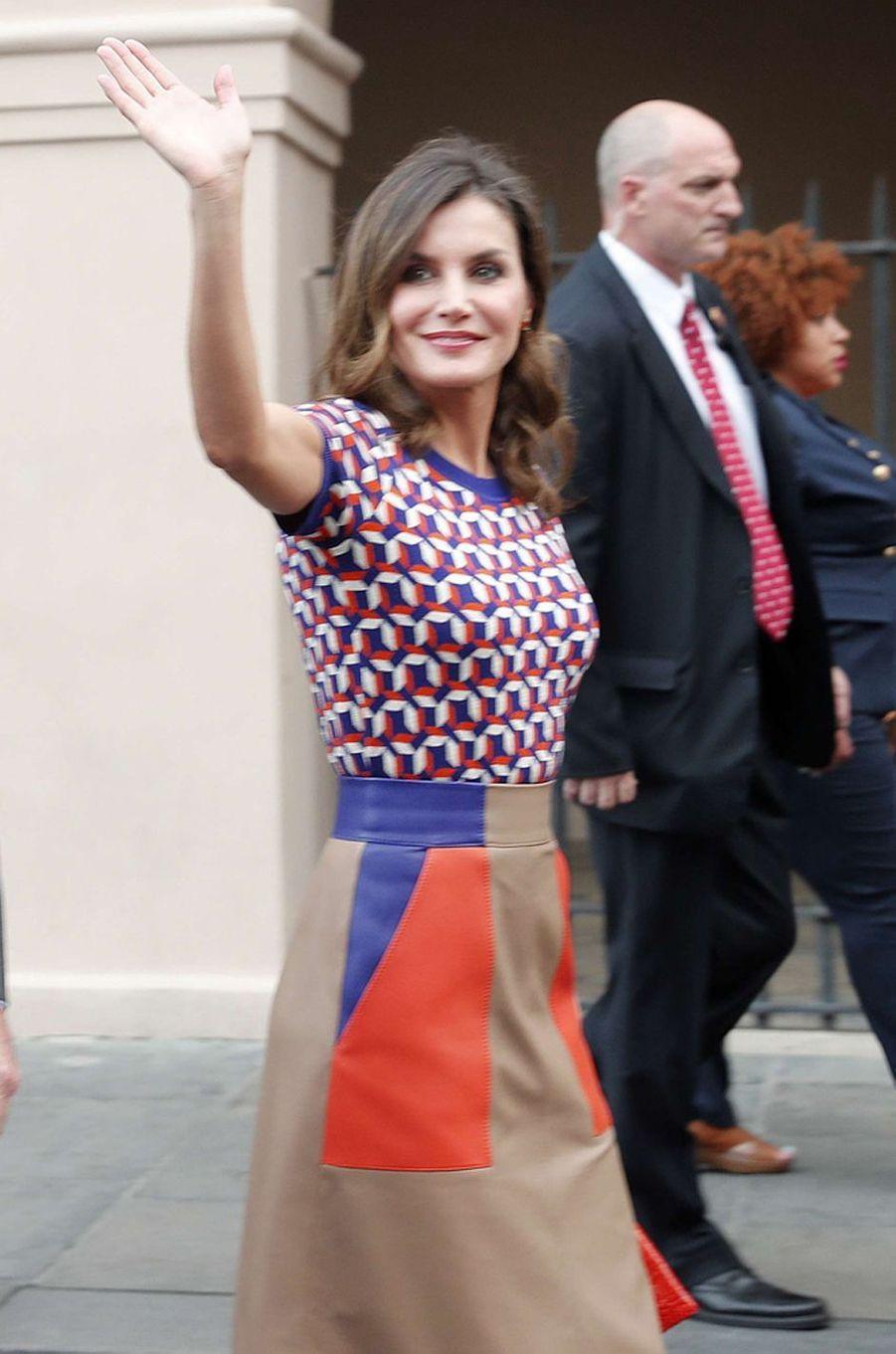 La reine Letizia d'Espagne en Hugo Boss à La Nouvelle-Orléans, le 15 juin 2018