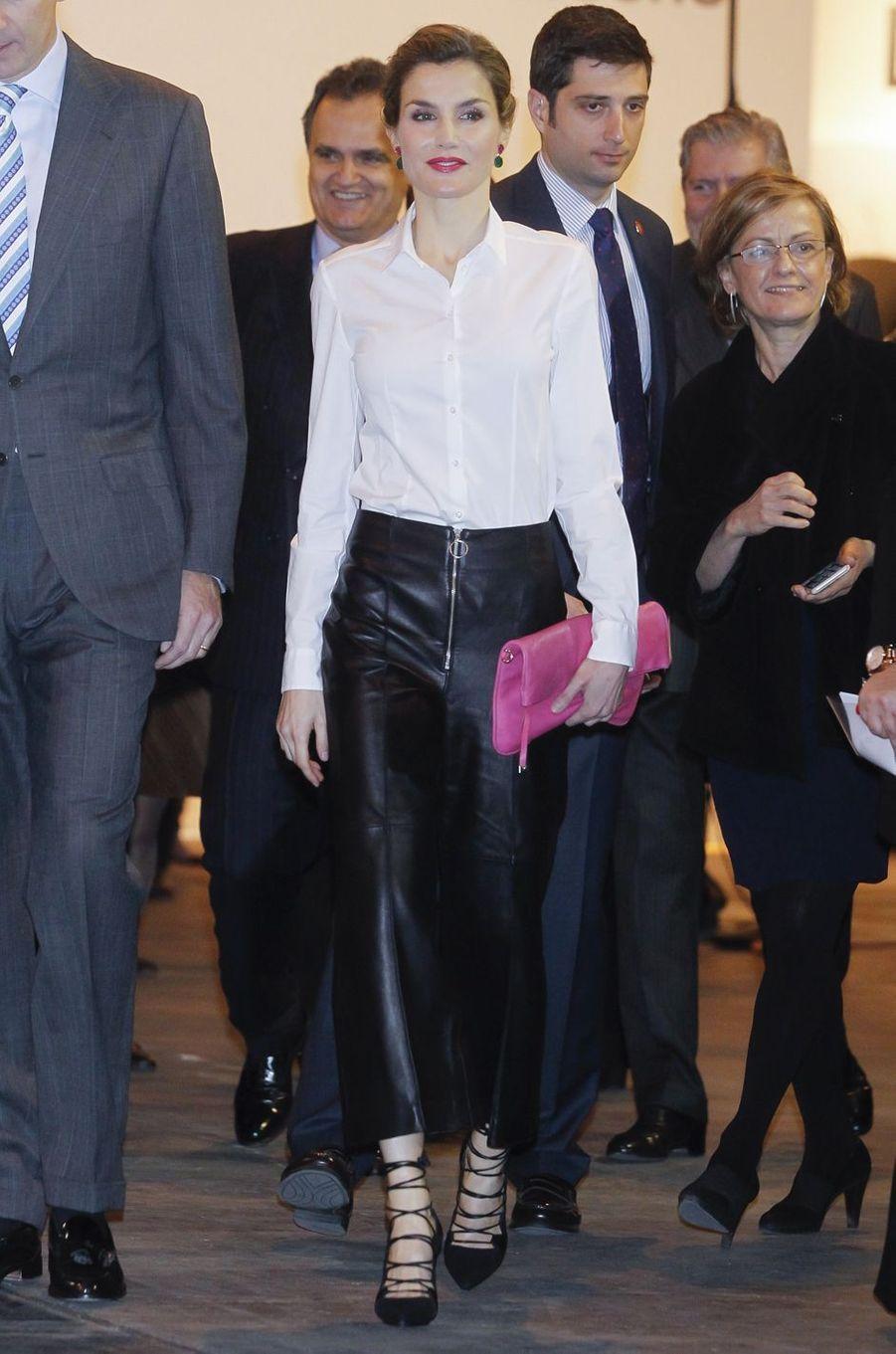 La reine Letizia d'Espagne, le 25 février 2016