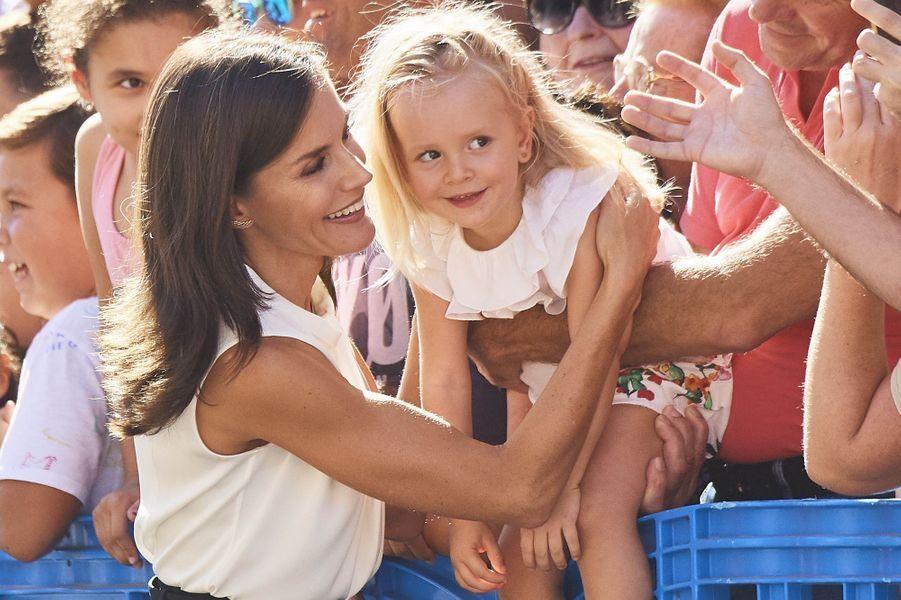 La reine Letizia d'Espagne à Los Alcazares, le 4 octobre 2019