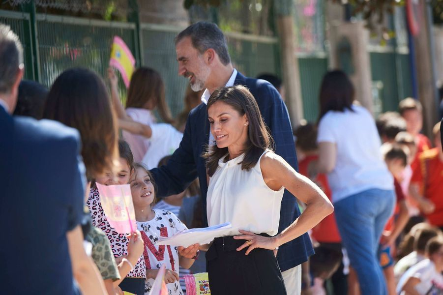 La reine Letizia et le roi Philippe VI d'Espagne à Orihuela, le 4 octobre 2019