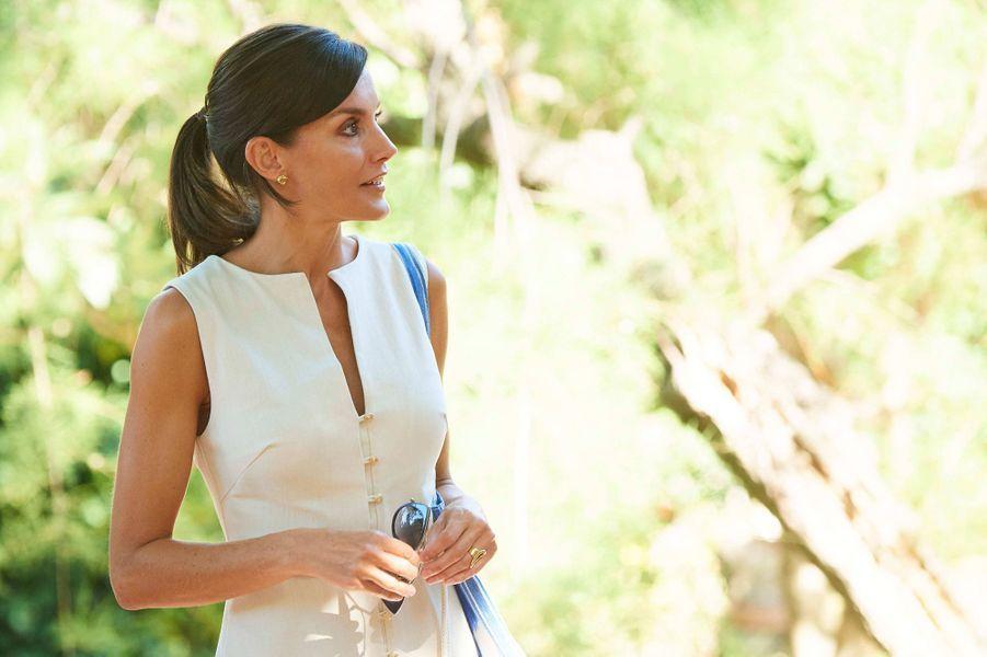La reine Letizia d'Espagne à Son Marroig sur l'île de Majorque, le 8 août 2019