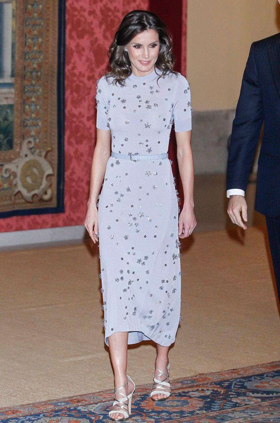 La reine Letizia d'Espagne dans une robe Nina Ricci à Madrid, le 28 février 2019