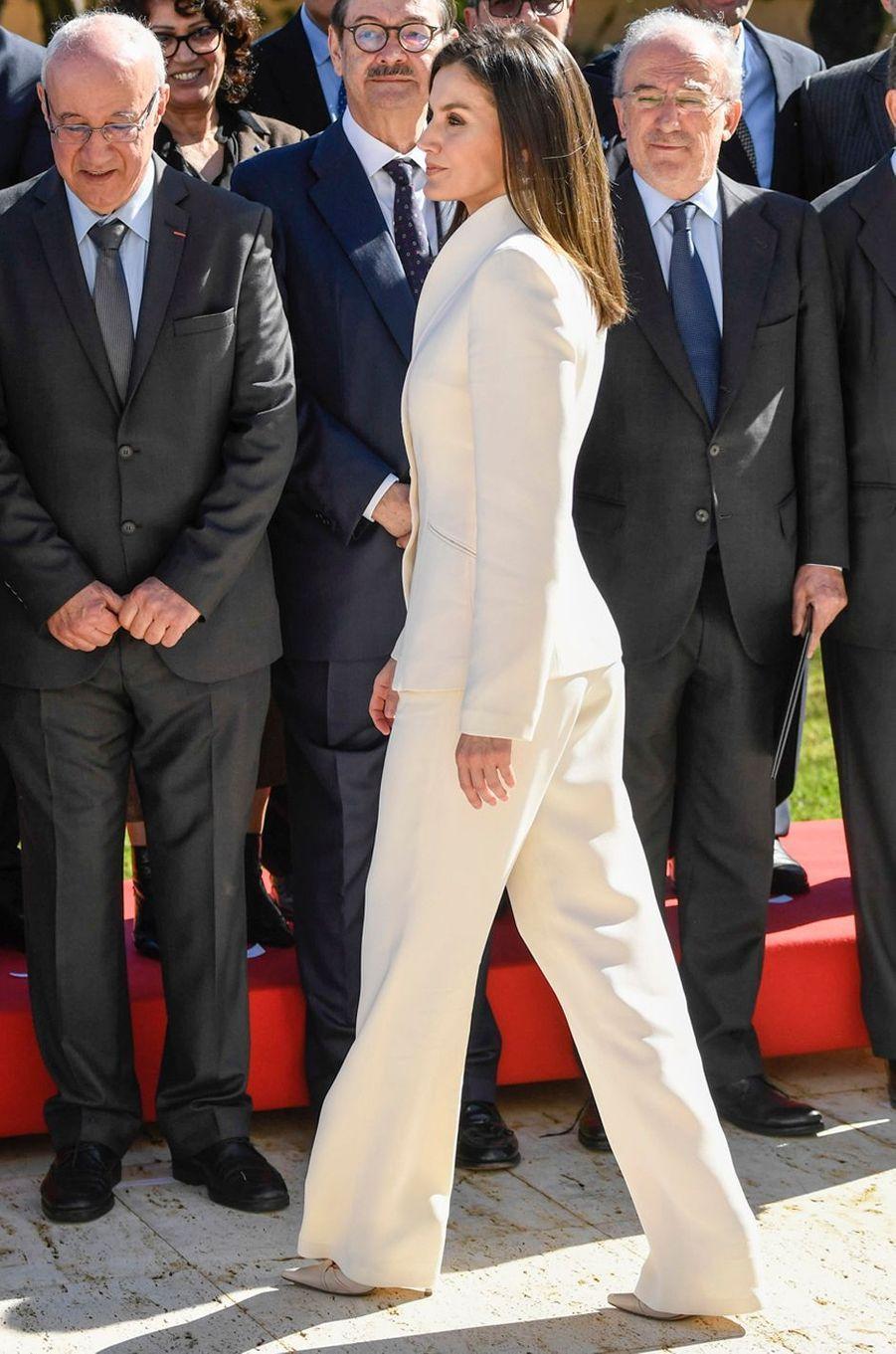 La reine Letizia d'Espagne au Maroc le 14 février 2019