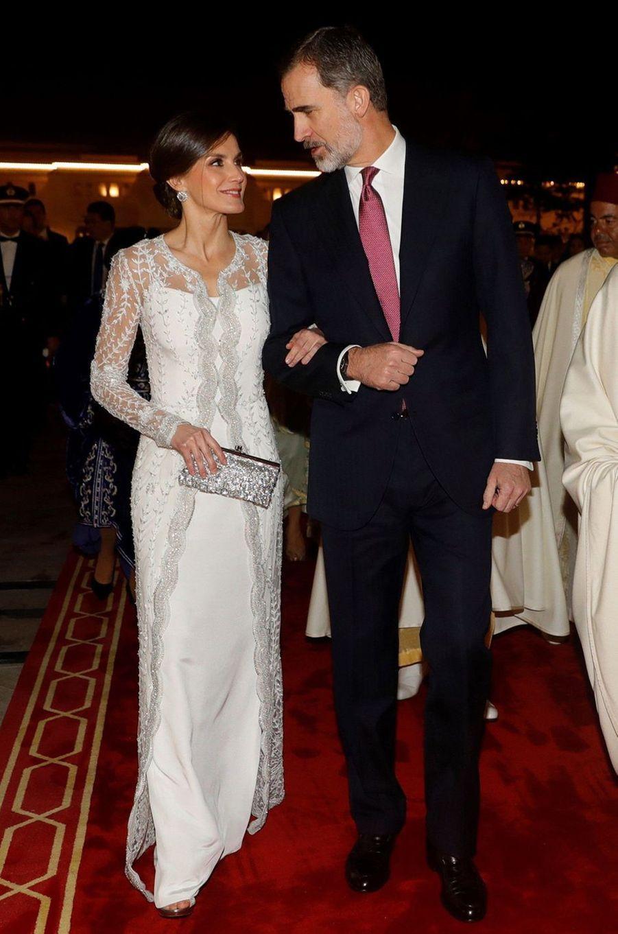 La reine Letizia d'Espagne en Felipe Varela au Maroc le 13 février 2019