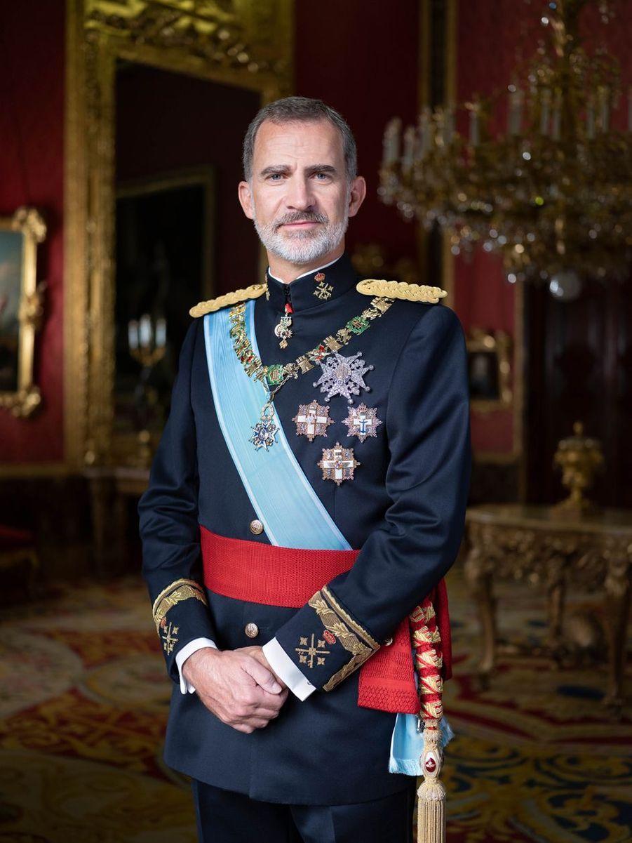 Nouveau portrait du roi Felipe VI d'Espagne en uniforme, dévoilé le 11 février 2020