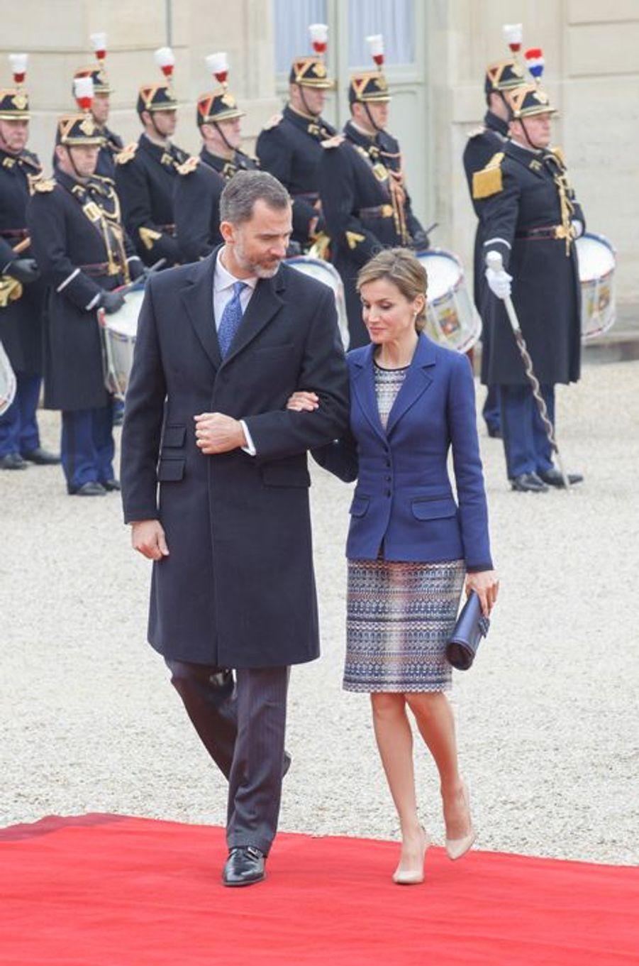 La reine Letizia et le roi Felipe VI d'Espagne à Paris, le 24 mars 2015
