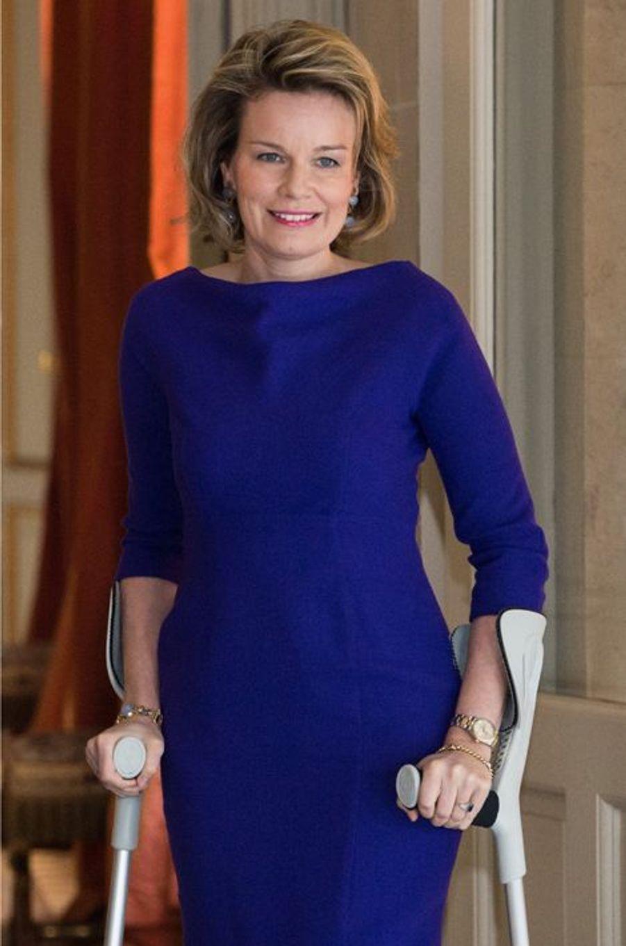 La reine Mathilde de Belgique à Bruxelles, le 25 mars 2015