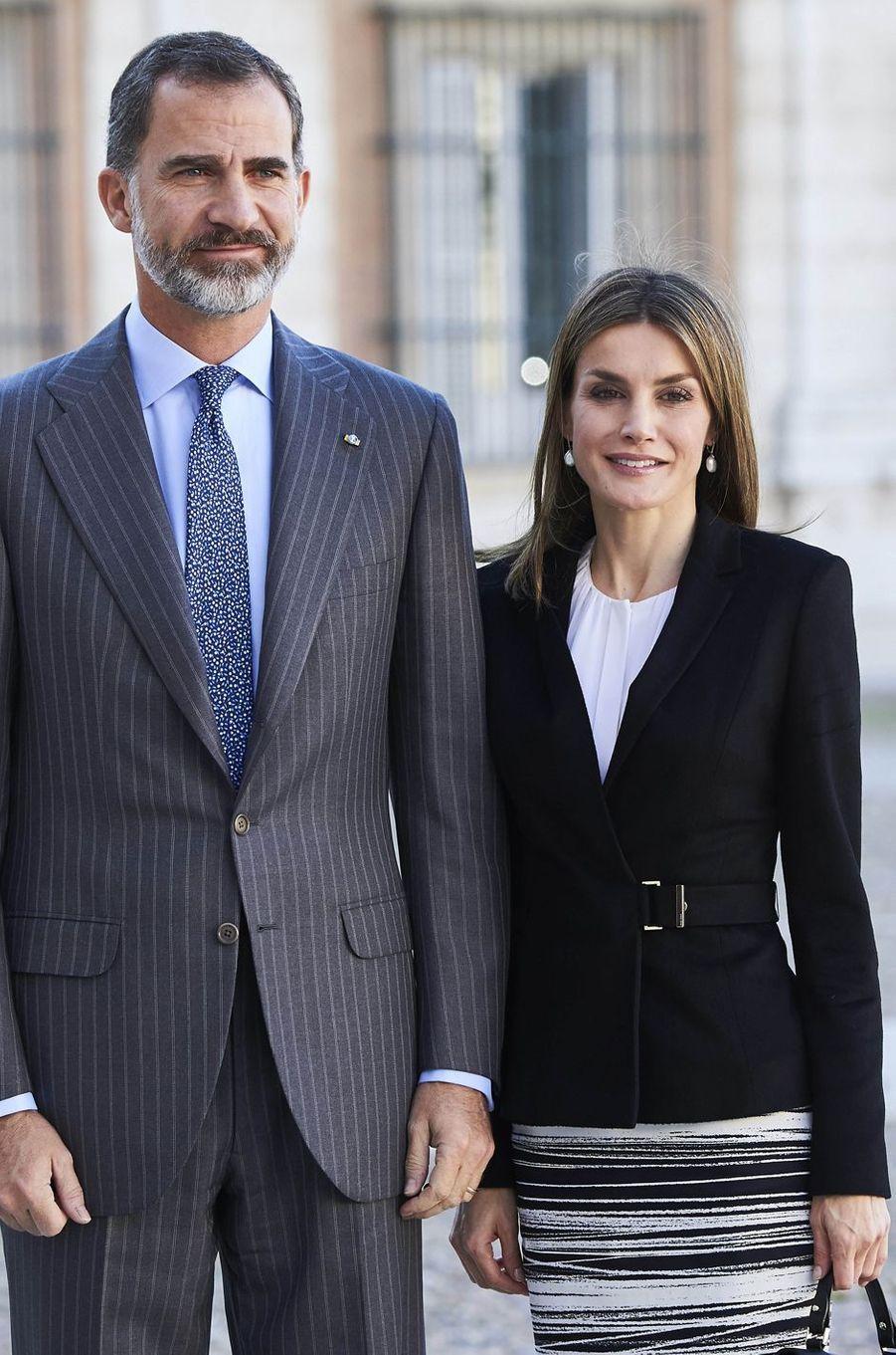 La reine Letizia et le roi Felipe VI d'Espagne le 7 novembre 2016
