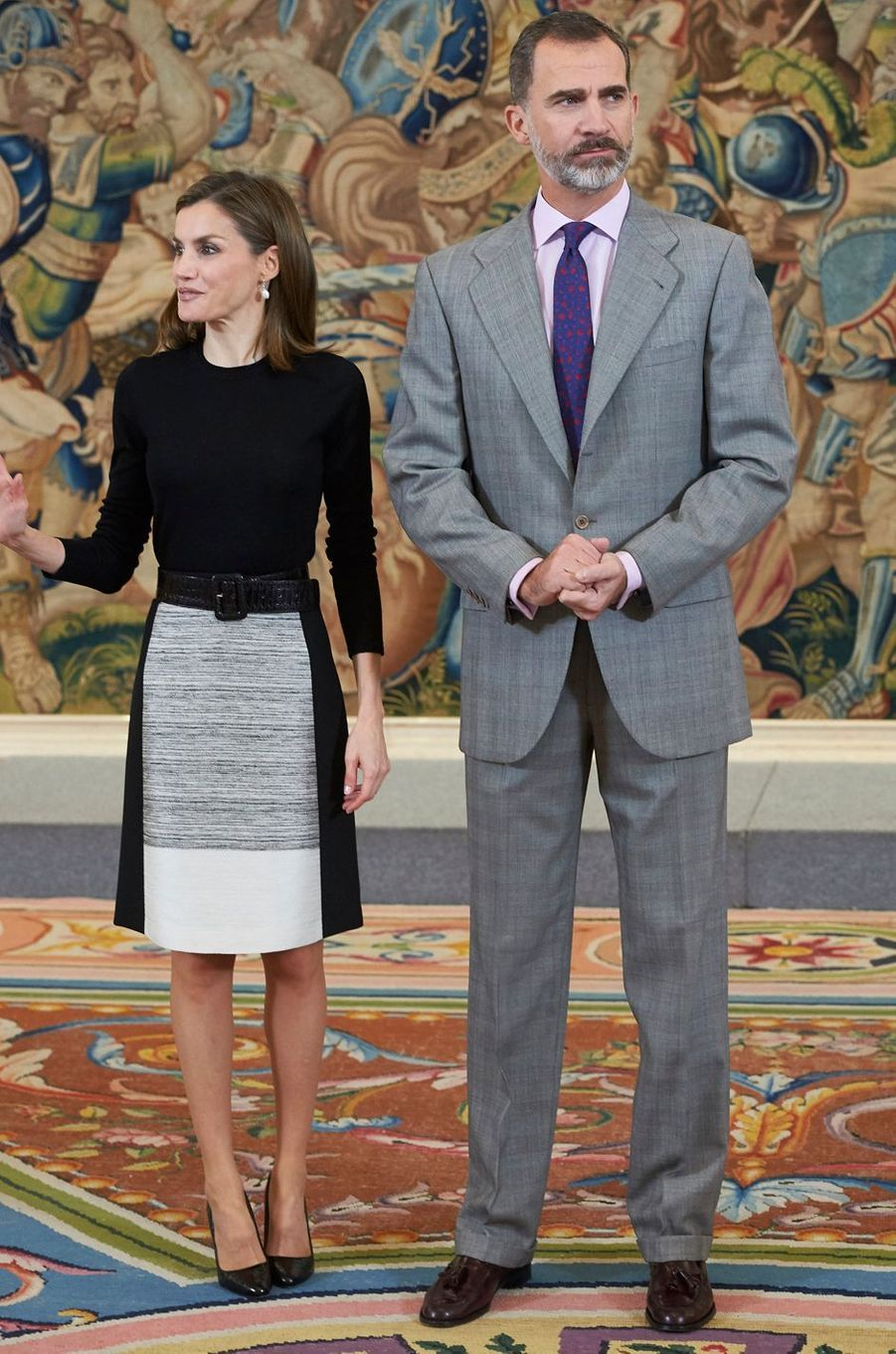 La reine Letizia avec le roi Felipe VI d'Espagne le 18 novembre 2016
