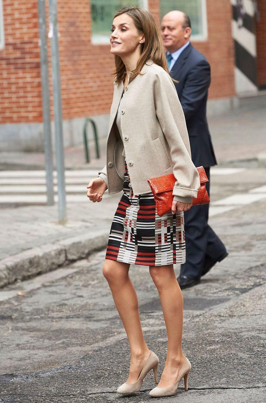 La reine Letizia d'Espagne le 18 octobre 2016