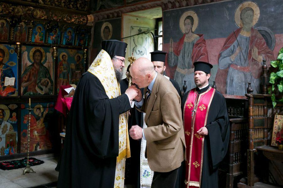 L'ancien roi Siméon II de Bulgarie au monastère de Cherepish, le 17 juin 2017