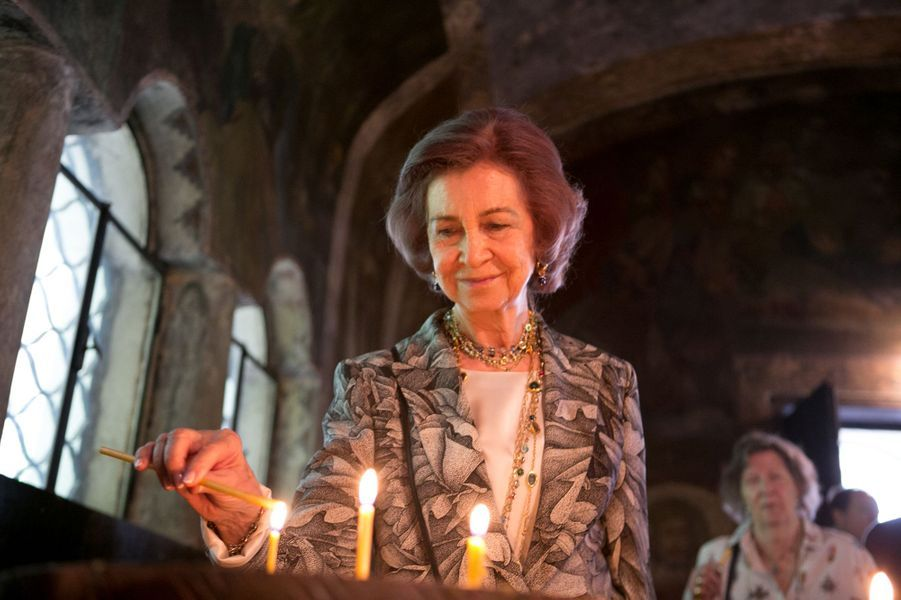 L'ancienne reine Sofia d'Espagne au monastère de Cherepish en Bulgarie, le 17 juin 2017