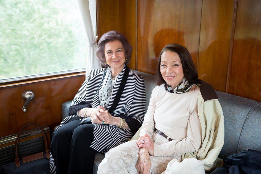 L'ancienne reine Sofia d'Espagne et Margarita, épouse de l'ancien roi Siméon II de Bulgarie, en Bulgarie, le 17 juin 2017