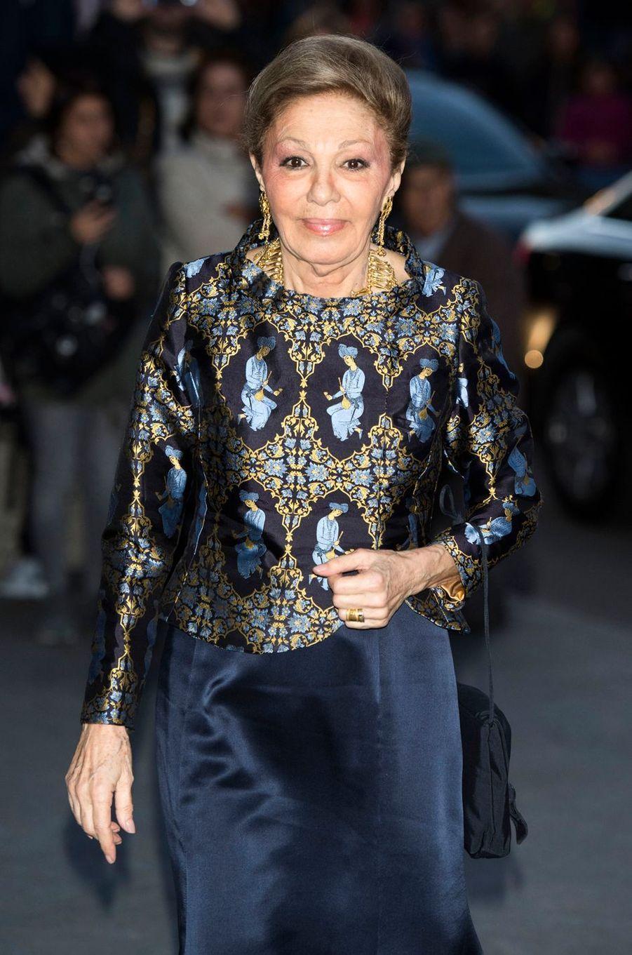 L'ancienne impératrice d'Iran Farah Diba Pahlavi à Madrid, le 2 novembre 2018