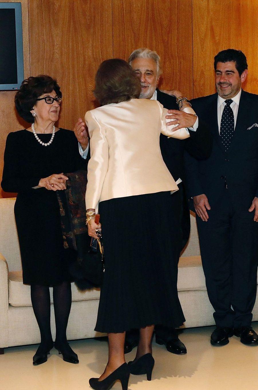 L'ancienne reine Sofia d'Espagne avec Placido Domingo à Madrid, le 2 novembre 2018