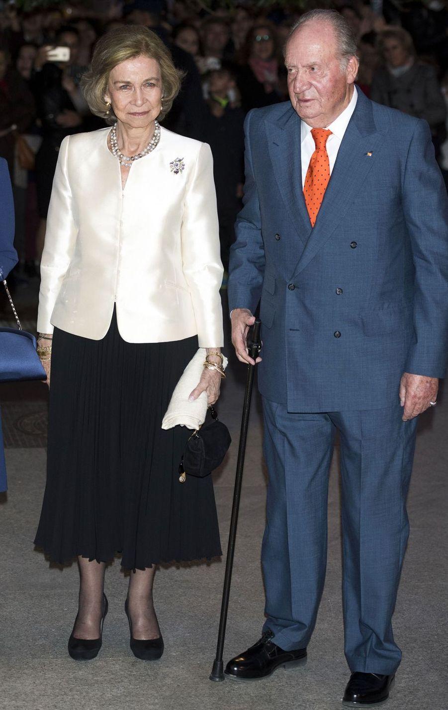 L'ancienne reine Sofia et l'ancien roi Juan Carlos d'Espagne à Madrid, le 2 novembre 2018