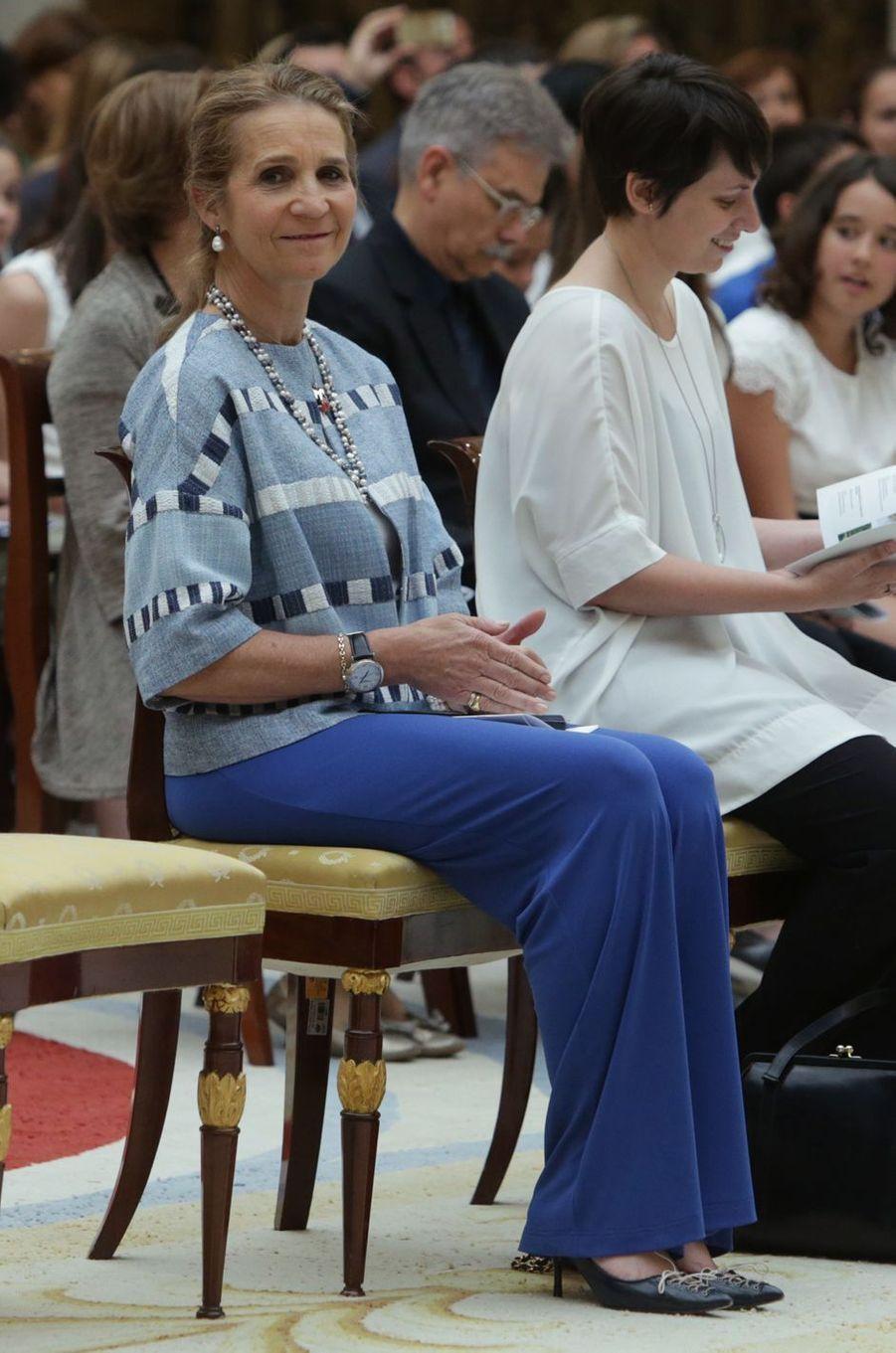 La princesse Elena d'Espagne, soeur du roi Felipe VI, à Madrid, le 8 juin 2017