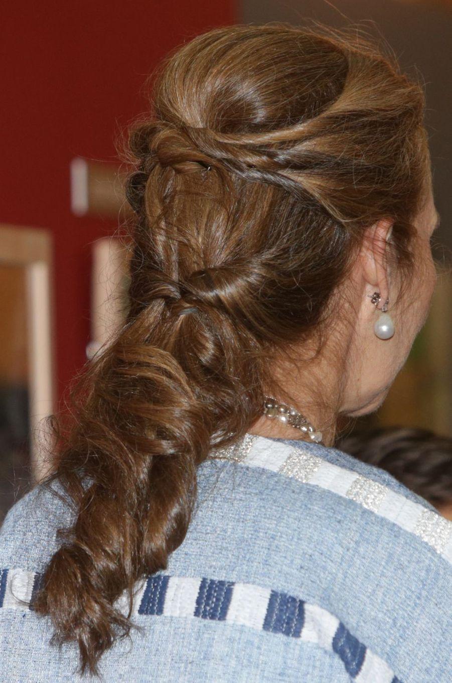 La coiffure de la princesse Elena d'Espagne à Madrid, le 8 juin 2017