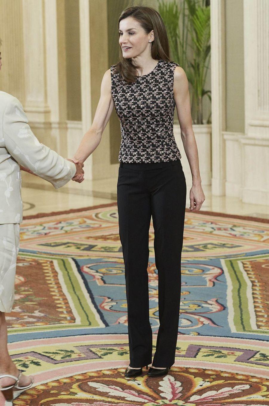 La reine Letizia d'Espagne à Madrid, le 8 juin 2017