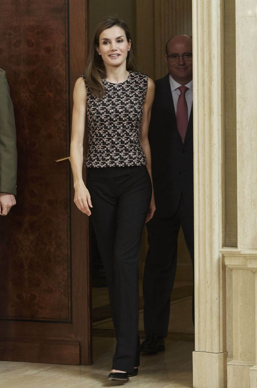 La reine Letizia d'Espagne au palais de la Zarzuela à Madrid, le 8 juin 2017
