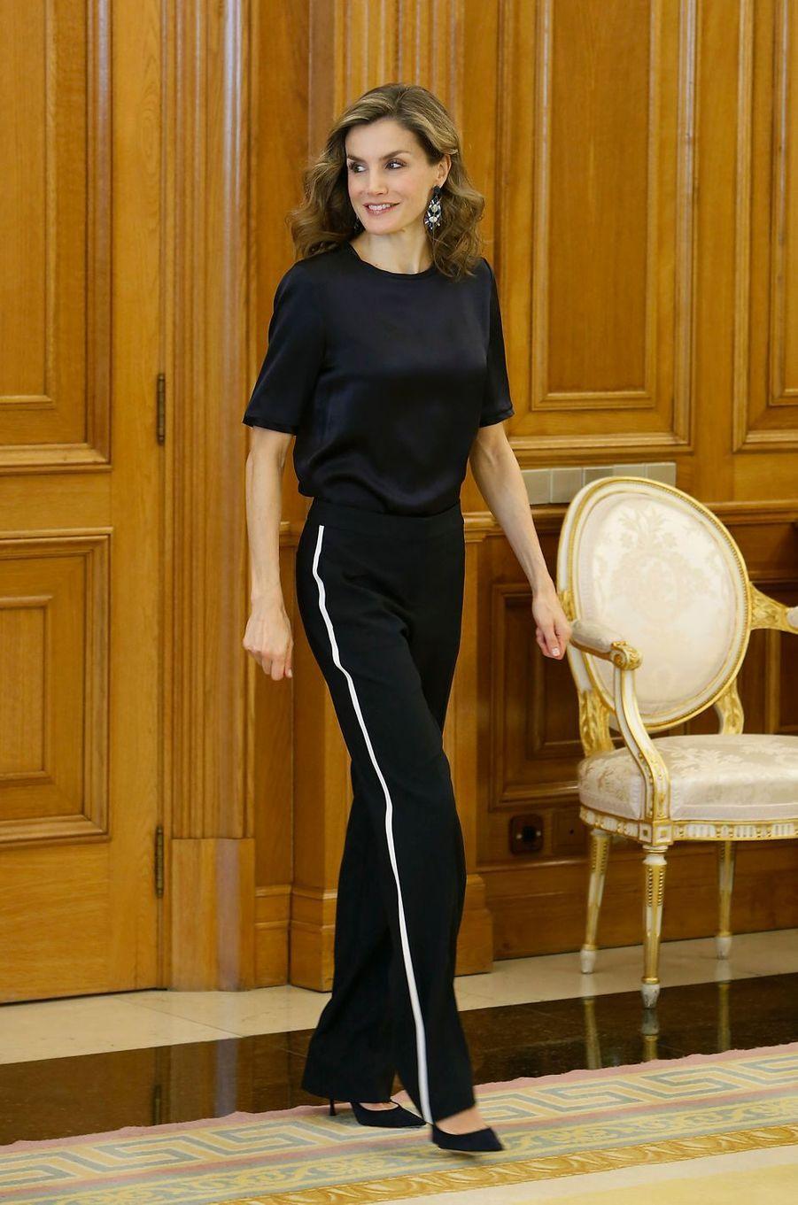 La reine Letizia d'Espagne à Madrid, le 27 octobre 2016