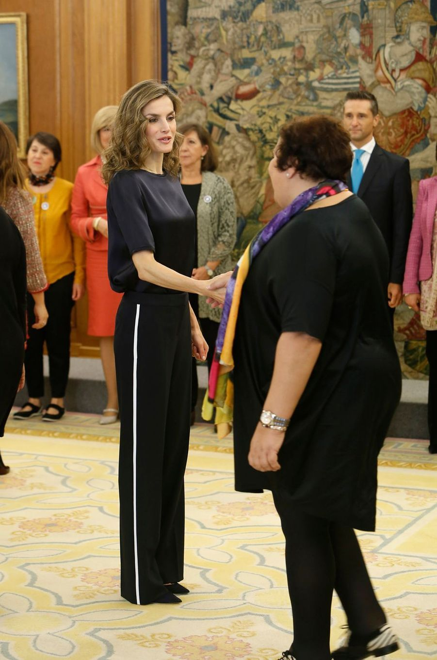 La reine Letizia d'Espagne en audience à Madrid, le 27 octobre 2016