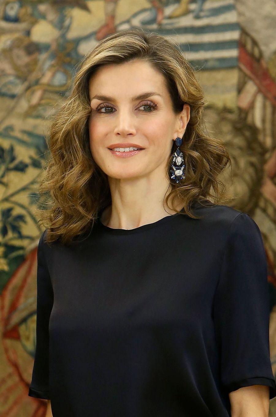 La reine Letizia d'Espagne au palais de la Zarzuela à Madrid, le 27 octobre 2016