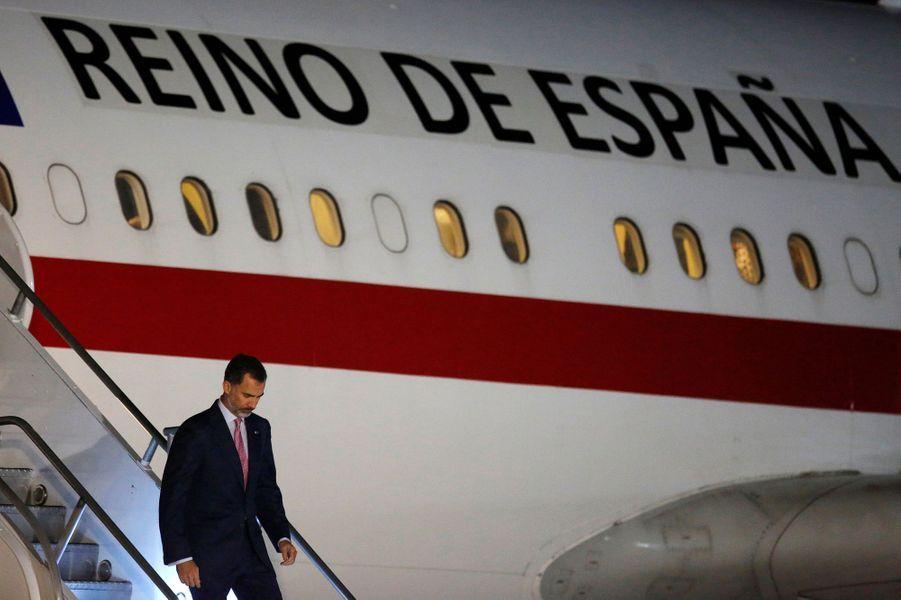 Le roi Felipe VI d'Espagne arrive en Colombie, le 27 octobre 2016