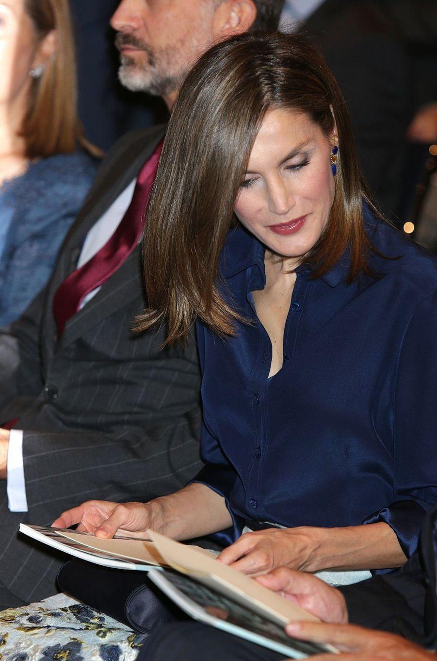 La reine Letizia d'Espagne à Madrid, le 7 septembre 2016