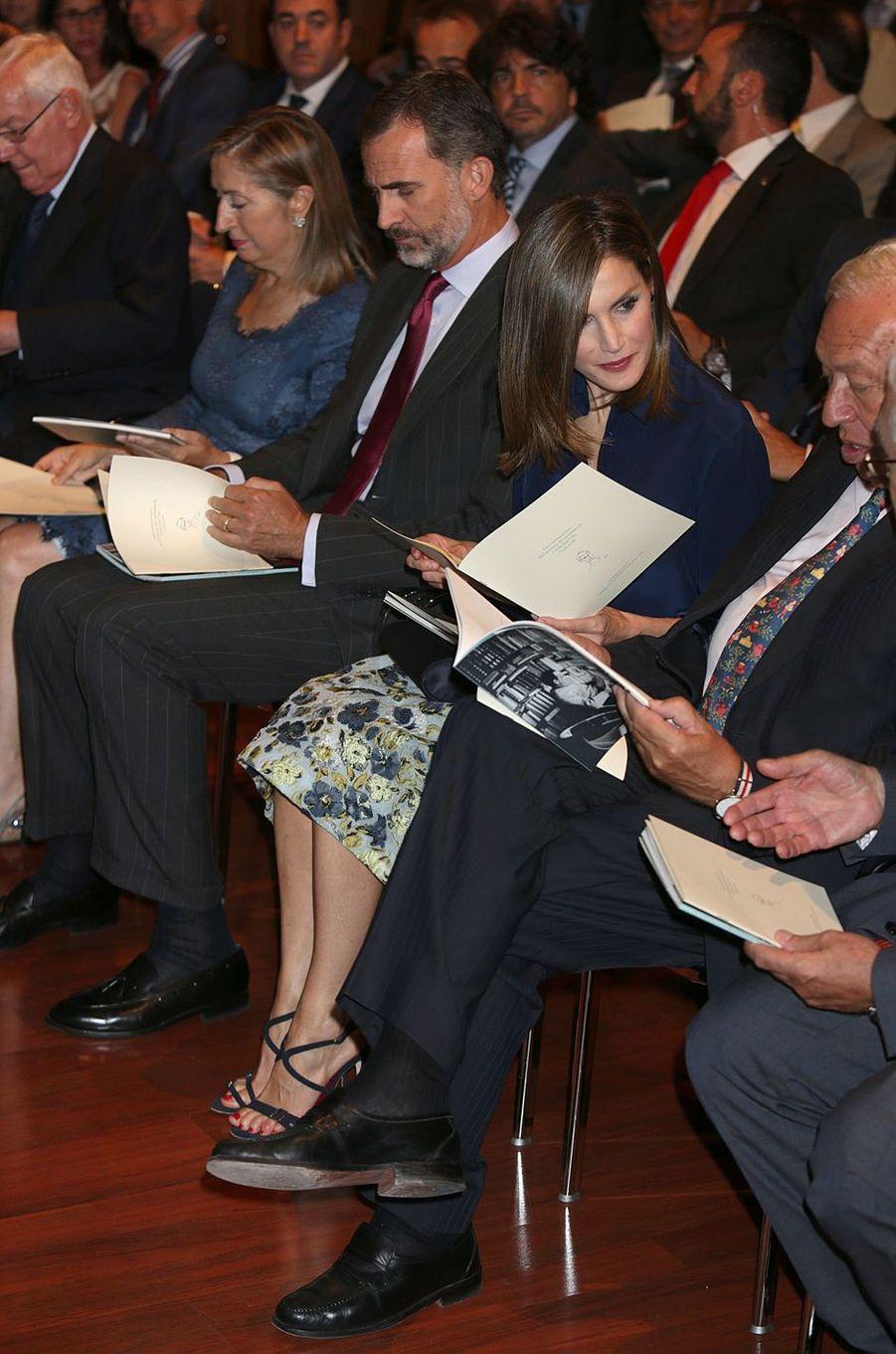 La reine Letizia et le roi Felipe VI d'Espagne à Madrid, le 7 septembre 2016