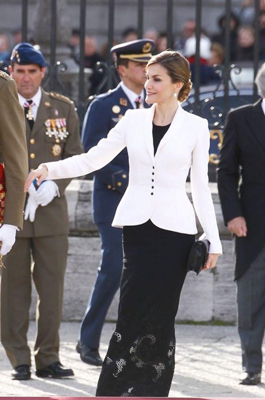 La reine Letizia d'Espagne à Madrid, le 6 janvier 2016