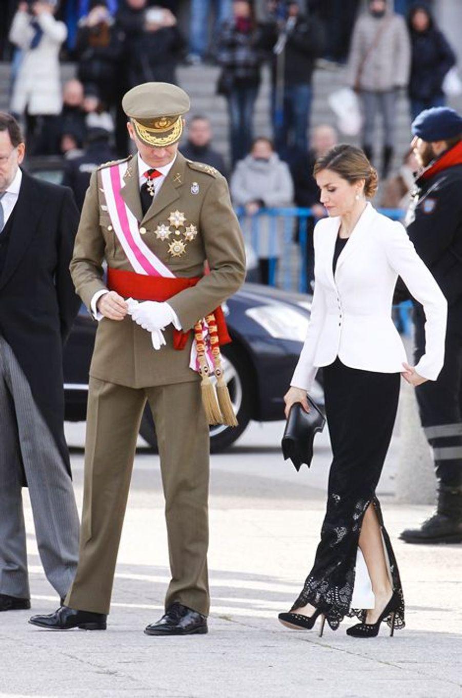 La reine Letizia et le roi Felipe VI d'Espagne à Madrid, le 6 janvier 2016