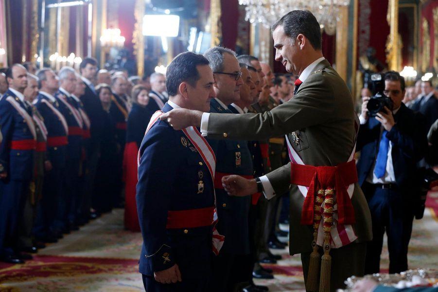 Le roi Felipe VI d'Espagne au Palais royal à Madrid, le 6 janvier 2016