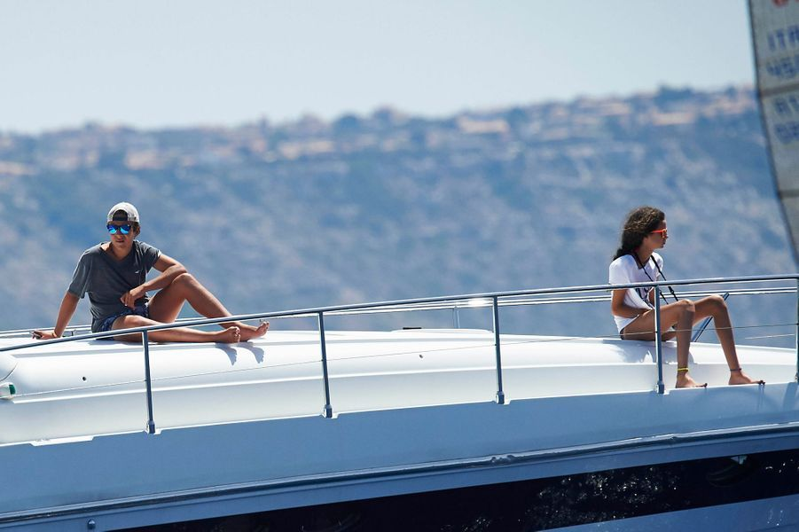 Felipe et Victoria Federica de Marichalar, fils de l'infante Cristina d'Espagne, à Palma de Majorque, le 5 août 2015