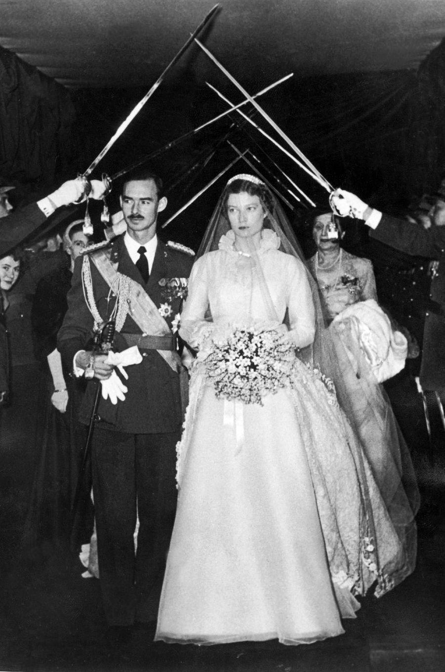 Le grand-duc héritier Jean de Luxembourg et la princesse Joséphine-Charlotte de Belgique, le 9 avril 1953