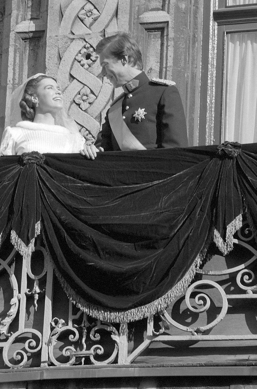 Le prince héritier Henri de Luxembourg et Maria Teresa Mestre le 14 février 1981, jour de leur mariage