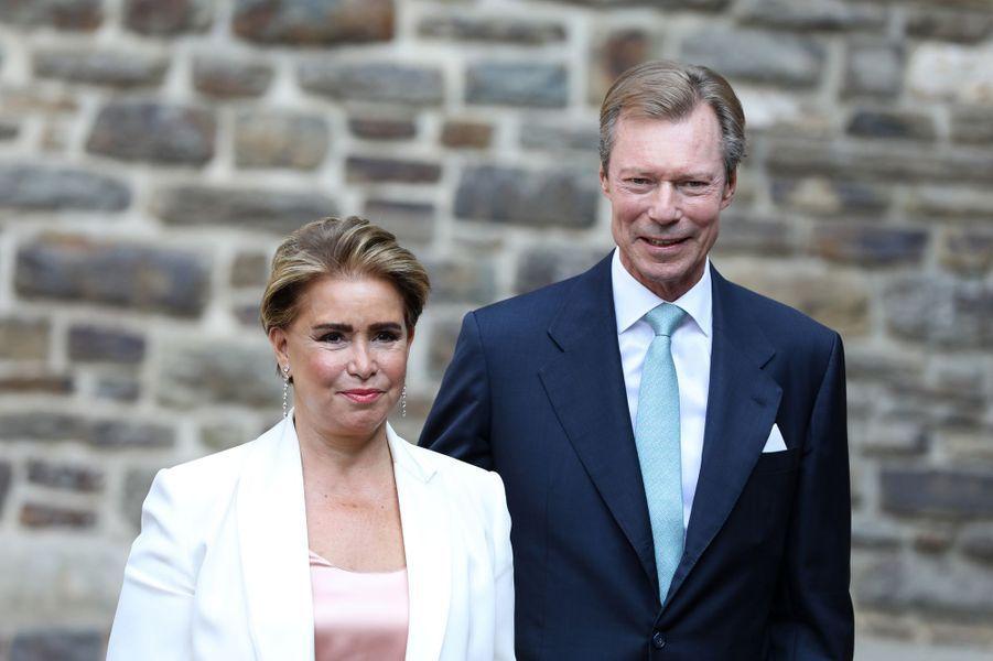 La grande-duchesse Maria Teresa et le grand-duc Henri de Luxembourg à l'abbaye de Clervaux, le 19 septembre 2020