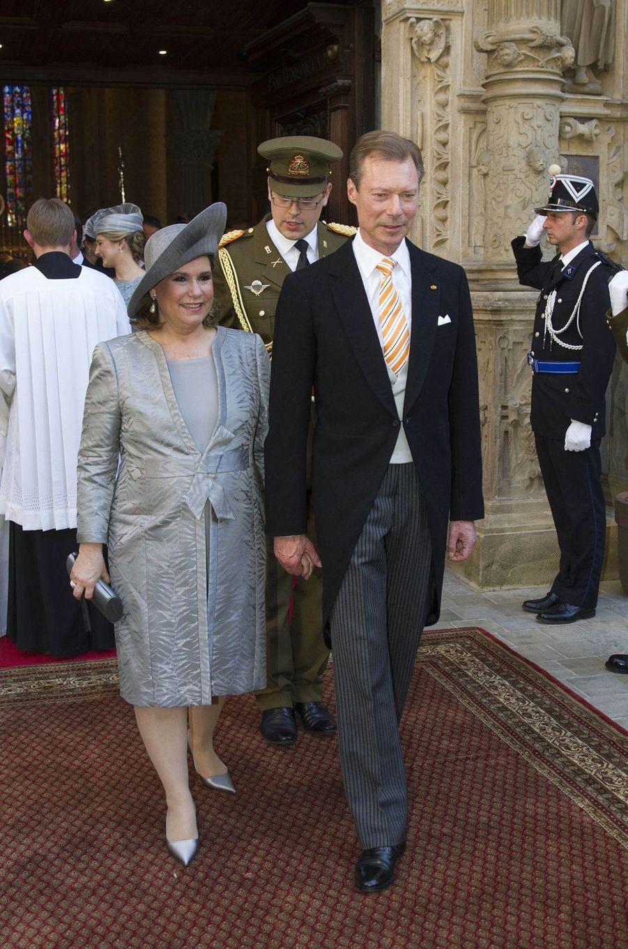 La grande-duchesse Maria Teresa et le grand-duc Henri de Luxembourg à Luxembourg, le 23 juin 2016