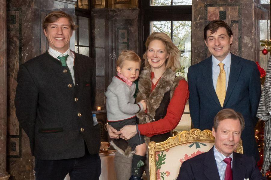 Le grand-duc Henri et le prince Louis de Luxembourg avec la comtesse Marie-Christine et les comtes Rodolphe et Gabriel de Limburg-Stirum, le 5 janvier 2019